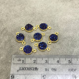 Gold Finish Metallic Dark Blue Round/Coin Shaped Natural Druzy Agate Bezel Connector Component - Measures 8mm x 8mm - Sold Individually