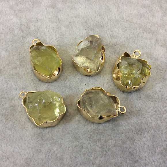 Gold Finish Large Raw Nugget Genuine Lemon Quartz Wavy Bezel Pendant - ~ 20mm - 24mm Long - Sold Individually, Selected Randomly