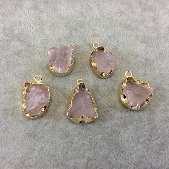 Gold Finish Medium Raw Nugget Genuine Rose Quartz Wavy Bezel Pendant - 16mm - 20mm Long, Approx. - Sold Individually, Selected Randomly