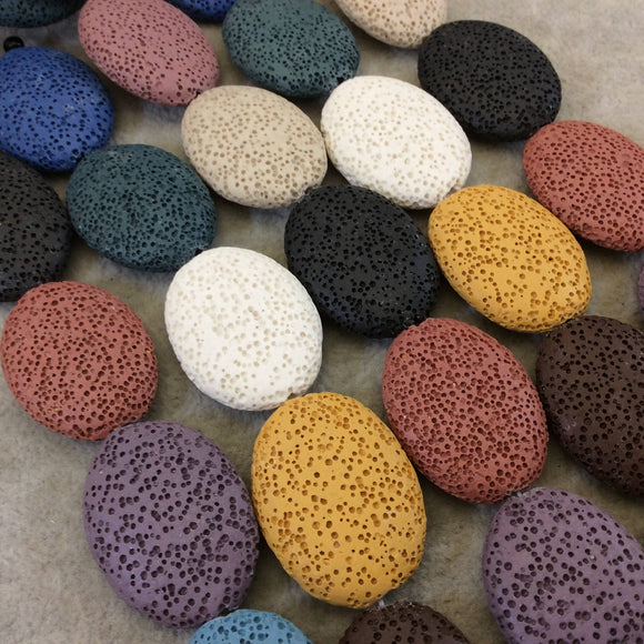 Large Oval Assorted/Mixed Colors Lava Rock Beads - 15.5