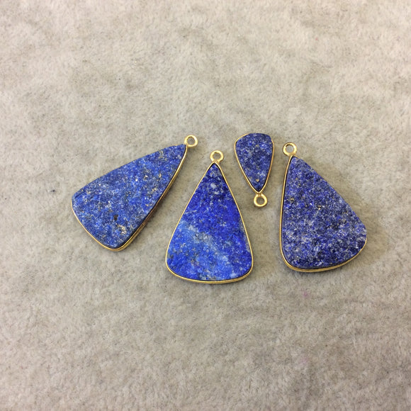 Jeweler's Lot Gold Plated Four Natural Rough/Raw Lapis Lazuli Triangle Shaped Bezel Pendants
