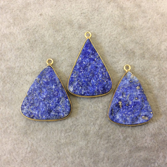 Jeweler's Lot Gold Plated Three Natural Rough/Raw Lapis Lazuli Triangle Shaped Bezel Pendants