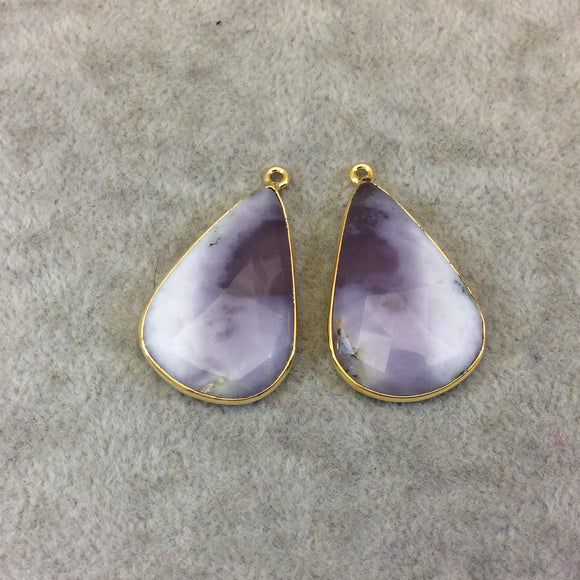 One Pair of OOAK Gold Finish Smooth Dendritic Opal Teardrop/Pear Shaped Bezel Pendants