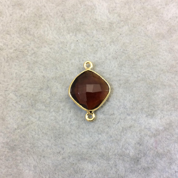 Gold Finish Faceted Root Beer Quartz (Hydro)  Diamond Shape Plated Copper Bezel Connector  ~ 12mm x 12mm - Sold Individually - RANDOM