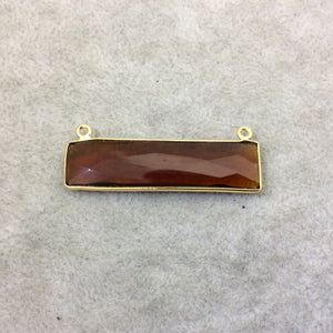 Gold Plated Faceted Root Beer Quartz (Hydro) Rectangle/Bar Shaped Bezel Connector  ~ 10mm x 40mm - Sold Individually, Chosen Randomly