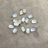 BULK PACK of Six (6) Gunmetal Sterling Silver Pointed/Cut Stone Faceted Rectangle Shaped Moonstone Bezel Pendants - Measuring 4mm x 6mm
