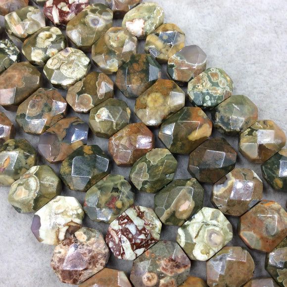 10mm x 14mm High Quality Natural Rhyolite Faceted Flat Octagon Shaped Beads with 1mm Holes - Sold by 7.5