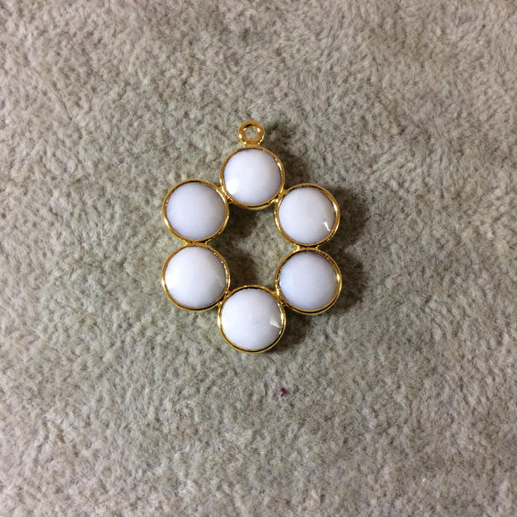 26mm Gold Finish Faceted Natural White Onyx 6 Petal (8mm) Flower Shaped Plated Copper Bezel Pendant - Sold Individually, Random