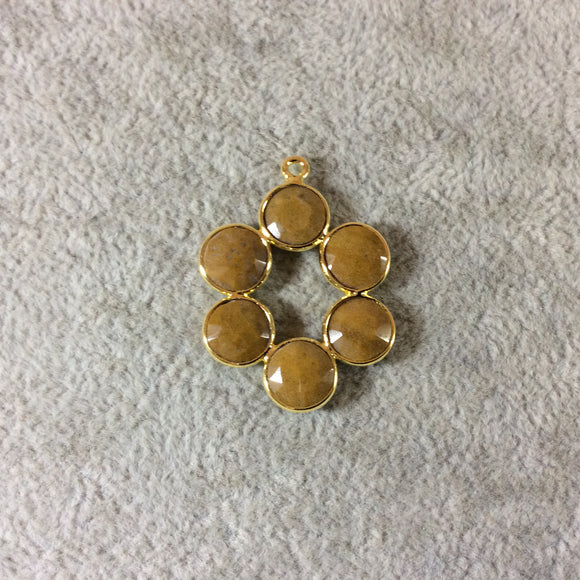 26mm Gold Finish Faceted Natural Honey Jasper 6 Petal (8mm) Flower Shaped Plated Copper Bezel Pendant - Sold Individually, Random