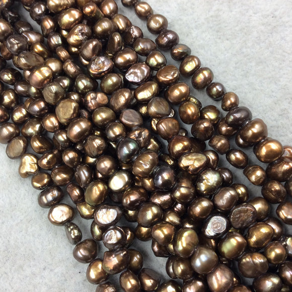 3mm x 6-8mm Natural Metallic Bronze Freshwater Pearl Button/Potato Shape Beads - 15.5