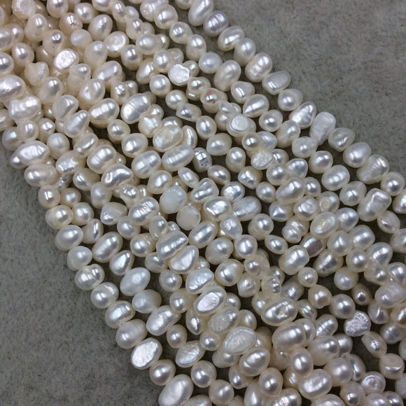 5mm x 8mm CROSS DRILLED High Quality Natural Freshwater Cream/White Rice/Oval Shaped Pearl Beads - 15.5