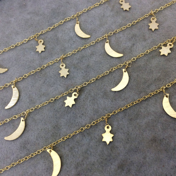 Gold Plated Copper Spaced Single Dangle Wrapped Chain with 9mm-12mm Long Gold Sun/Star and Moon Dangles - Sold by 1 Foot Length! (SD008-GD)