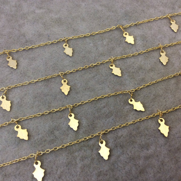 Gold Plated Copper Spaced Single Dangle Wrapped Chain with 5mm x 8mm Gold Leaf/Arrow Shaped Dangles - Sold by 1 Foot Length! (SD012-GD)