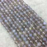 "6mm Faceted Mixed Gray Agate Round/Ball Shaped Beads - 15.5"" Strand (Approximately 64 Beads) - Natural Semi-Precious Gemstone"