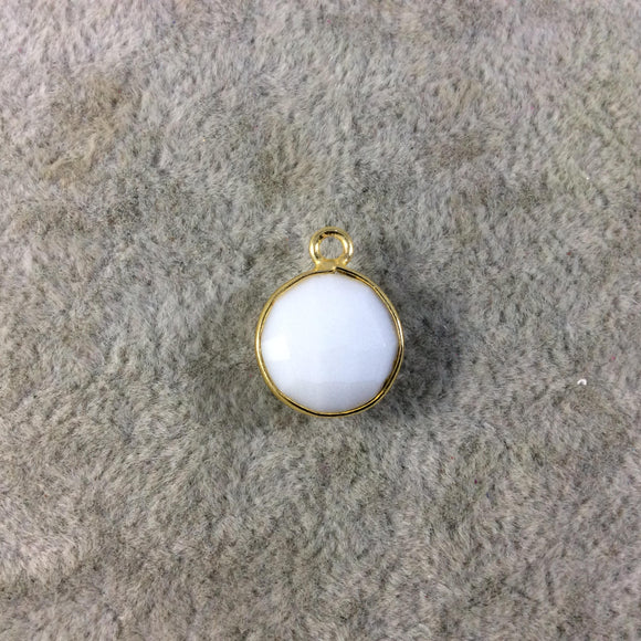 Gold Plated Faceted White Hydro (Lab Created) Chalcedony Round/Coin Shaped Bezel Pendant - Measuring 12mm x 12mm - Sold Individually