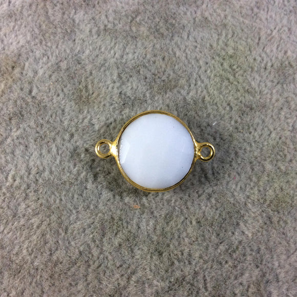 Gold Plated Faceted White Hydro (Lab Created) Chalcedony Round/Coin Shaped Bezel Connector - Measuring 15mm x 15mm - Sold Individually