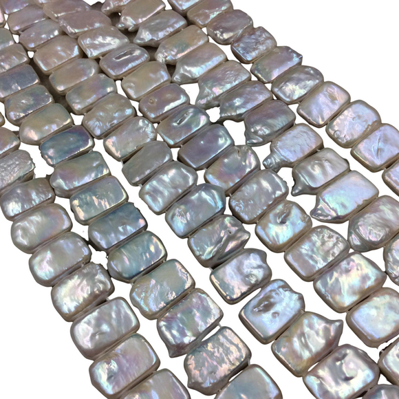 10mm x 15mm Natural Double Drilled Freshwater Pearl Iridescent White Rectangle Shape Beads - 15.5
