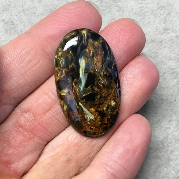 OOAK Natural Namibian Pietersite Oblong Oval Shaped Flat Back Cabochon