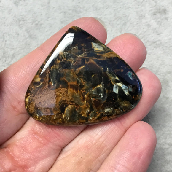 OOAK Natural Namibian Pietersite Pear/Teardrop Shaped Flat Back Cabochon