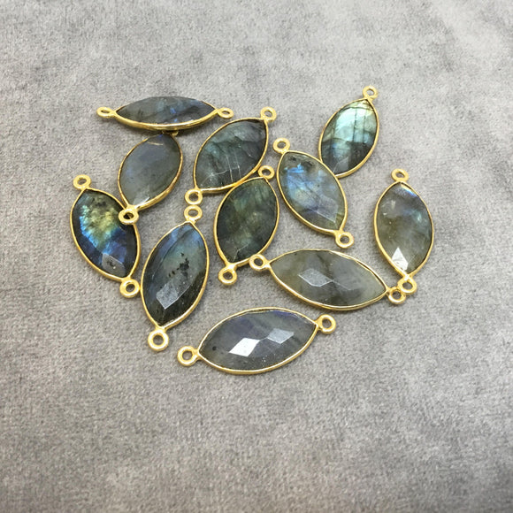 Gold Plated Natural Labradorite Faceted Marquise  Shaped Copper Bezel Connector - Measures 10mm x 20mm - Sold Individually, Random
