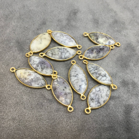Gold Plated Natural Dendritic Opal Faceted Marquise  Shaped Copper Bezel Connector - Measures 10mm x 20mm - Sold Individually, Random