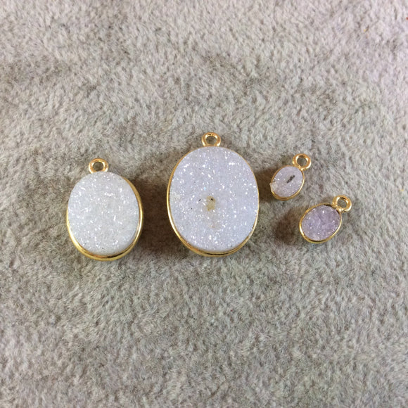 Jeweler's Lot Gold Finish White Oval/Oblong Shaped Natural Druzy Agate Bezel Pendants DOW3 ~4mm - 20mm Long - Sold In Lot Of 4 As Shown
