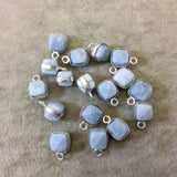 Silver Finish Faceted Blue Opal Cube/Square Shape Plated Copper Bezel Pendant - Measures 7-8mm - Natural Gemstone - Sold Individually