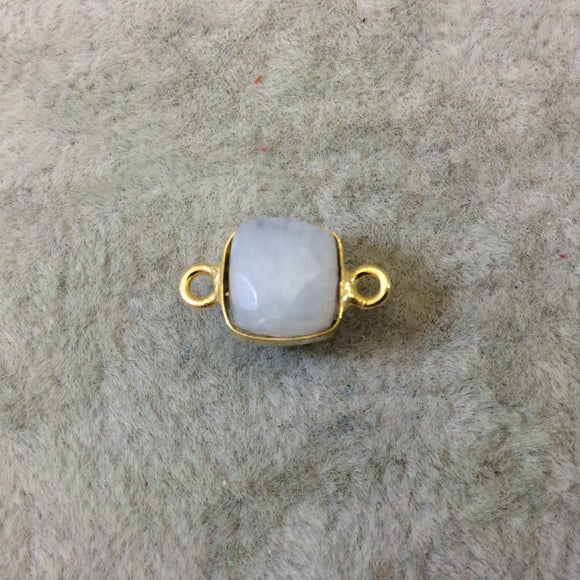 Gold Finish Faceted Rainbow Moonstone Cube/Square Shape Plated Copper Bezel Connector - ~ 7-8mm - Natural Gemstone - Sold Individually