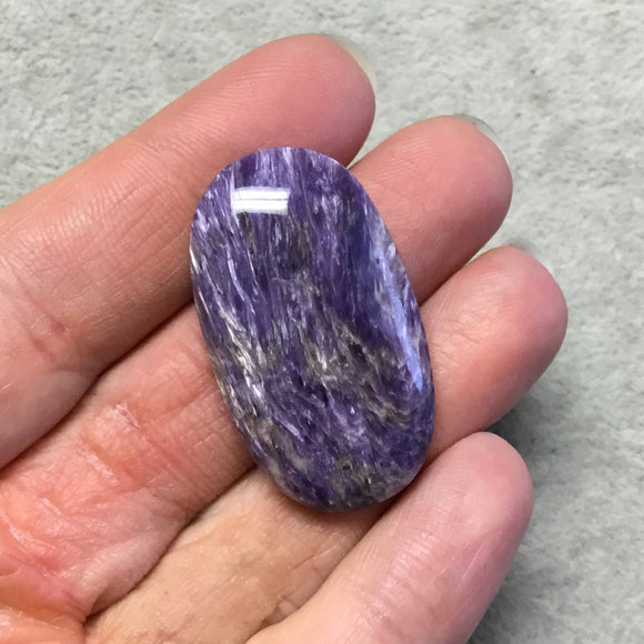 OOAK Natural Purple Charoite Oblong Oval Shaped Flat Back Cabochon