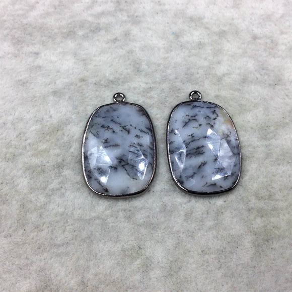 One Pair of OOAK Gunmetal Finish Faceted Dendritic Opal Freeform Shape Bezel Pendants