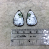 "One Pair of OOAK Gunmetal Finish Faceted Dendritic Opal Freeform Shape Bezel Pendants ""DOGM08"" - Measure 18mm x 30mm - Natural Gemstone"