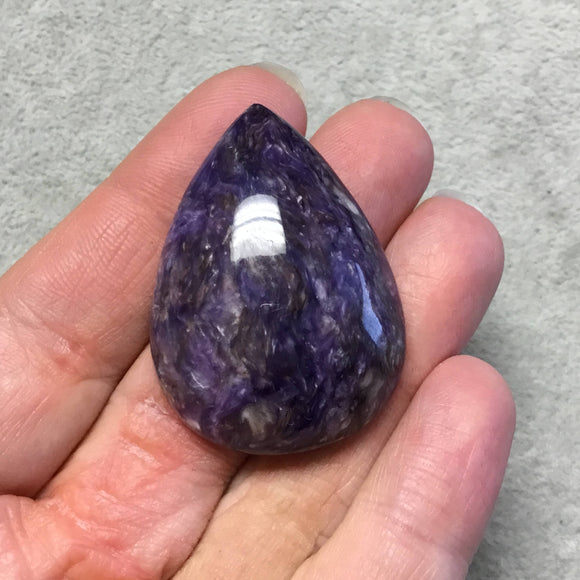 OOAK Natural Purple Charoite Pear/Teardrop Flat Back Cabochon