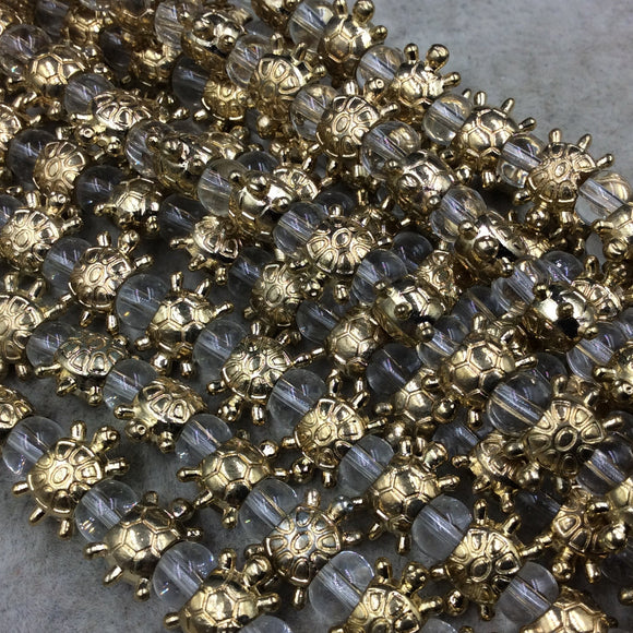 Gold Finish Turtle Shape Plated Pewter Beads - 8