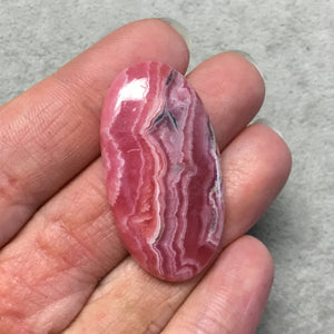 "OOAK AAA Rhodochrosite Oblong Oval Shaped Flat Back Cabochon ""9"" - Measuring 23mm x 43mm, 5mm Dome Height - Natural High Quality Gemstone"