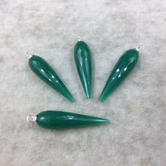 Large Sterling Silver Finish Faceted Spike Opaque Emerald Green Quartz Bezel Component  ~10 x 35-40mm - Sold Per Each, Selected at Random