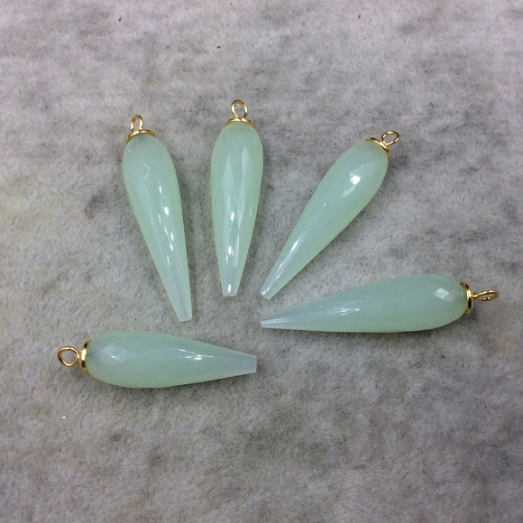 Large Gold Plated Sterling Silver Finish Faceted Spike Opaque Pale Seafoam Green Quartz Pendant  ~ 10 x 35-40mm - Sold Per Each, At Random