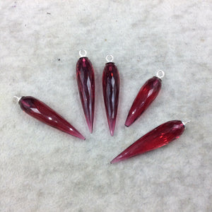 Large Sterling Silver Finish Faceted Spike Transparent Magenta Quartz Component  10 x 35-40mm - Sold Per Each, Selected at Random