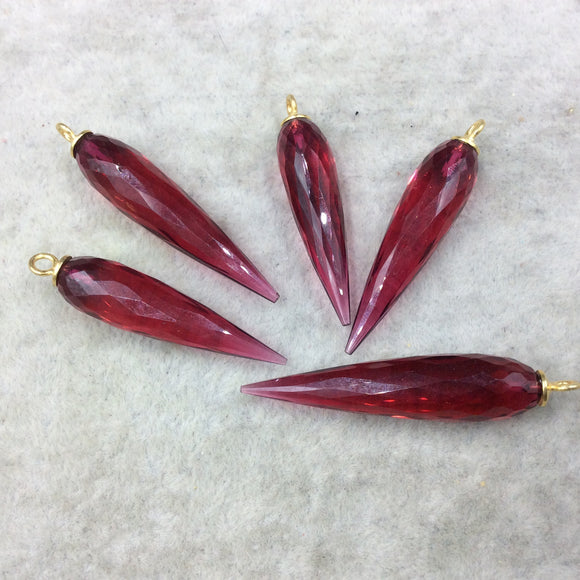 Large Gold Plated Sterling Silver Finish Faceted Spike Transparent Magenta Quartz Pendant  ~ 10 x 35-40mm - Sold Per Each, At Random