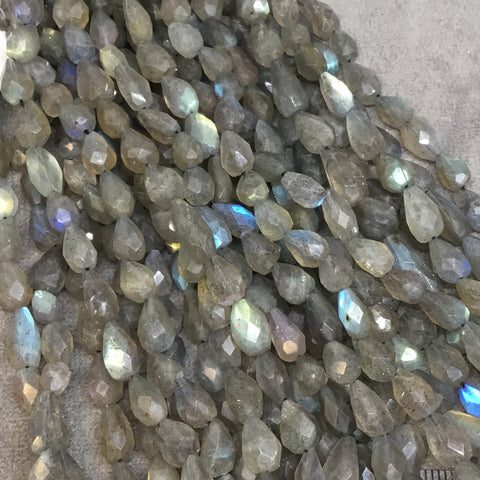 "4-5mm x 7-9mm Faceted Labradorite Vertical Tear Shaped Beads with .5mm Holes - 12.5"" Strand (~ 46 Beads) - Quality Hand-Cut Indian Gemstone"