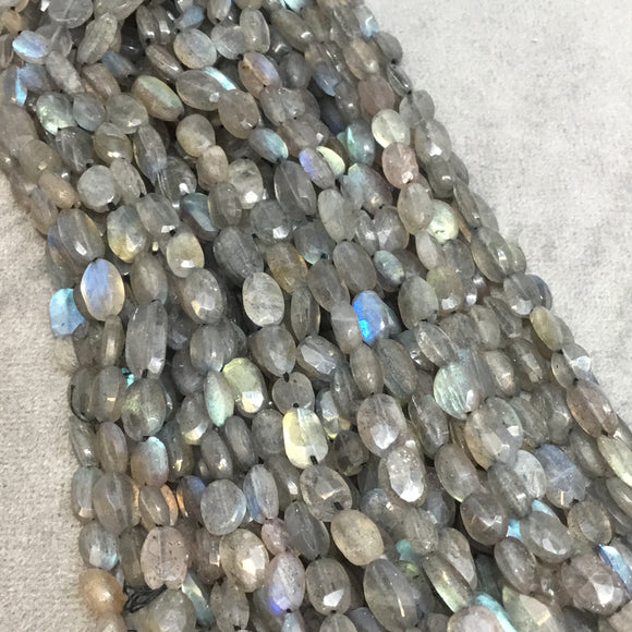 4-5mm x 6-7mm Faceted Labradorite Oval Shaped Beads w/ .5mm Holes - 12.5