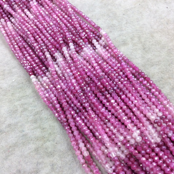 2mm x 2.5mm Faceted Mystic Pink Ombre/Gradient Dyed Natural Quartz Rondelle Beads - Sold by the 13