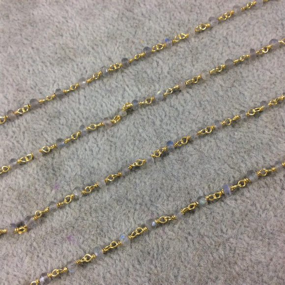Gold Plated Sterling Silver Wrapped Rosary Chain with 3-4mm Faceted Labradorite Rondelle Shape Beads - Sold per Foot! (SS003-GD)