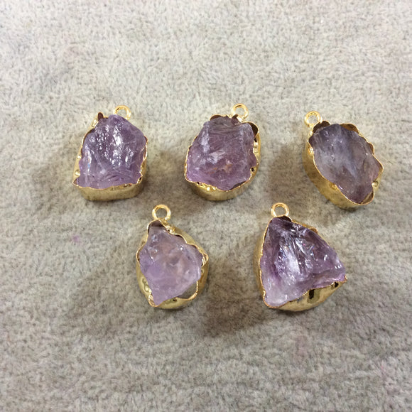 Gold Finish Large  Raw Nugget Genuine Pale Amethyst Wavy Bezel Pendant - 20mm - 22mm Long, Approx. - Sold Individually, Selected Randomly