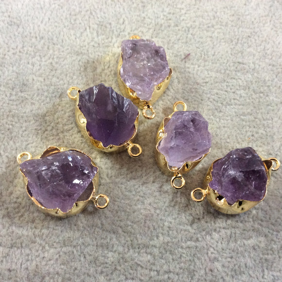 Gold Finish Large  Raw Nugget Genuine Pale Amethyst Wavy Bezel Connector - 20mm - 23mm Long, Approx. - Sold Individually, Selected Randomly