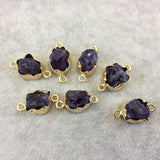 Gold Finish Small Raw Nugget Genuine Dark Amethyst Wavy Bezel Connector - 12mm - 15mm Long, Approx. - Sold Individually, Selected Randomly