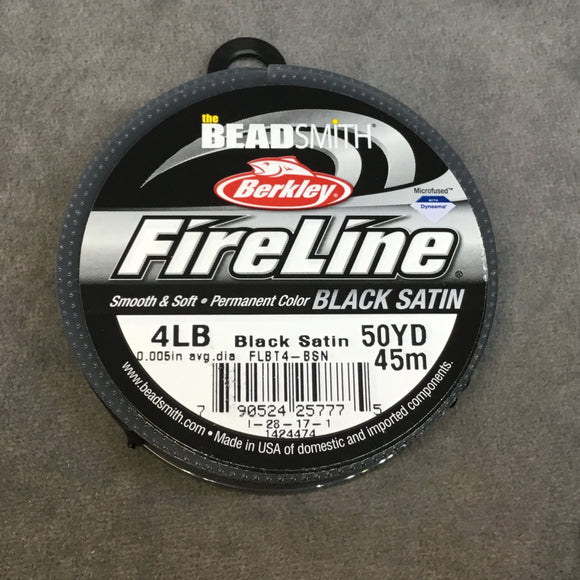 50 Yard Spool of 4lb. Black Satin Colored Fireline® Braided Beading Thread, Beadsmith/Berkley® Branded - 0.13mm/0.005