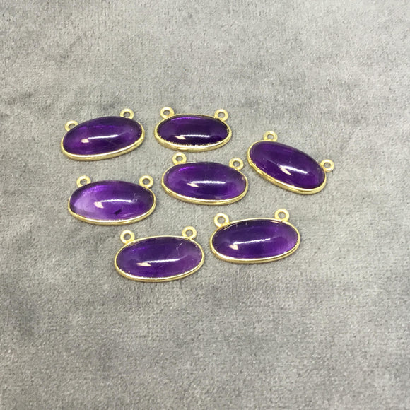 Gold Plated Copper Smooth Natural Amethyst Flat Back Oval Shaped Bezel Pendant with Two Top Rings - Measuring 18mm x 9mm - Individually Sold
