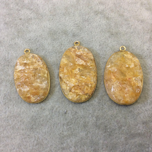 Jeweler's Lot Gold Plated Natural Raw Citrine - Three Flat Back Free Form Copper Bezel Pendants