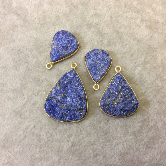 Jeweler's Lot Gold Plated Four Natural Rough/Raw Lapis Lazuli Teardrop Shaped Bezel Pendants
