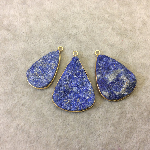 Jeweler's Lot Gold Plated Three Natural Rough/Raw Lapis Lazuli Teardrop Shaped Bezel Pendants